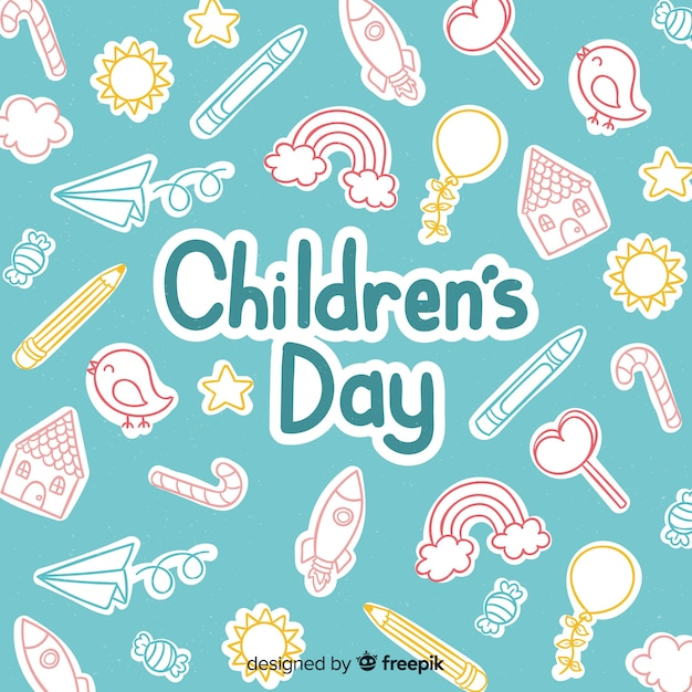 Happy children's day background with lettering Free Vector