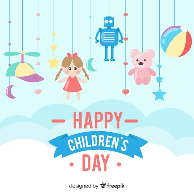 Happy children's day background with toys Free Vector