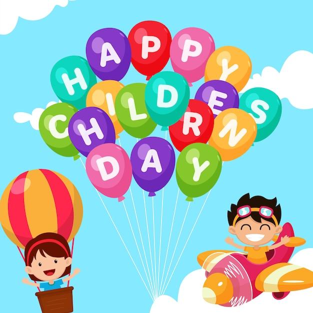 Счастливый детский день фон Premium векторы