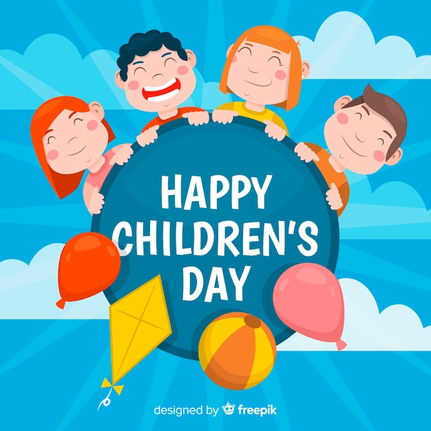 Happy children's day flat design background Free Vector