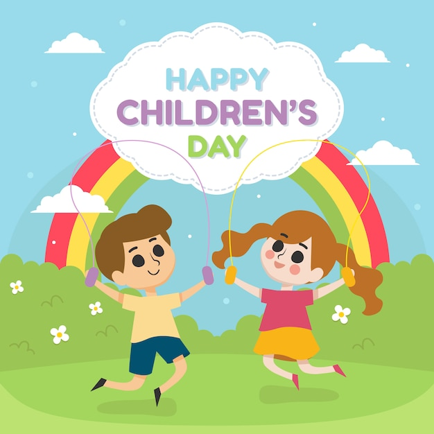 Happy children's day illustration with children play in the park with rainbow Premium Vector