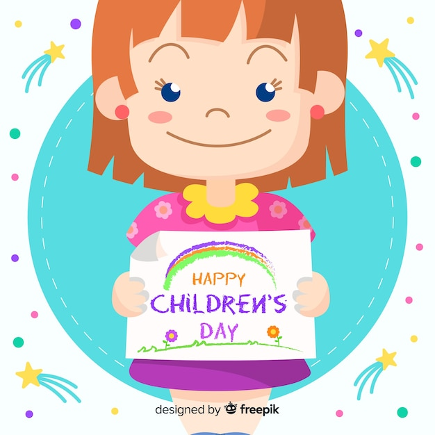Happy children's day with cute girl smiling Free Vector