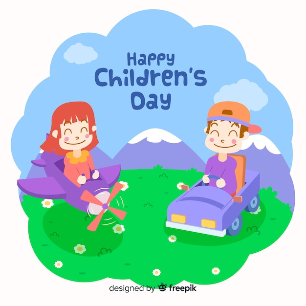 Happy children's day with kids playing outside and smiling Free Vector