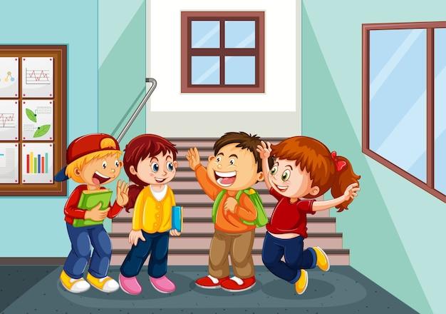 Happy children at school hallway Free Vector