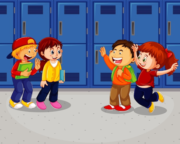 Happy children at school hallway Free Vector