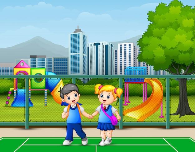 Happy children walking in the courts Premium Vector