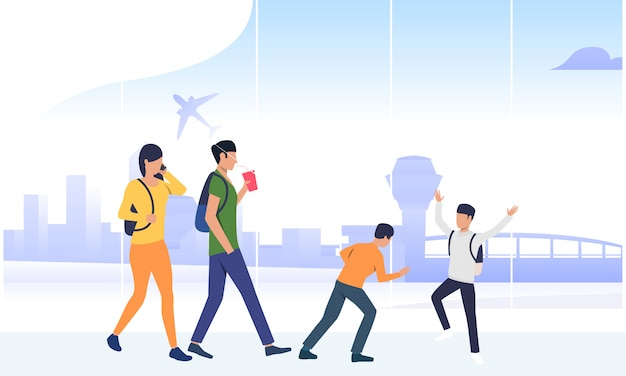 Happy children with parents waiting boarding Free Vector