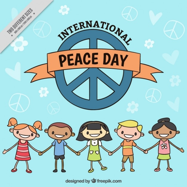 Happy Children With Peace Symbols Vector Free Download