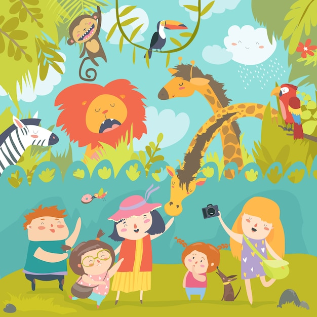 Happy children in zoo with wild african animals Premium Vector