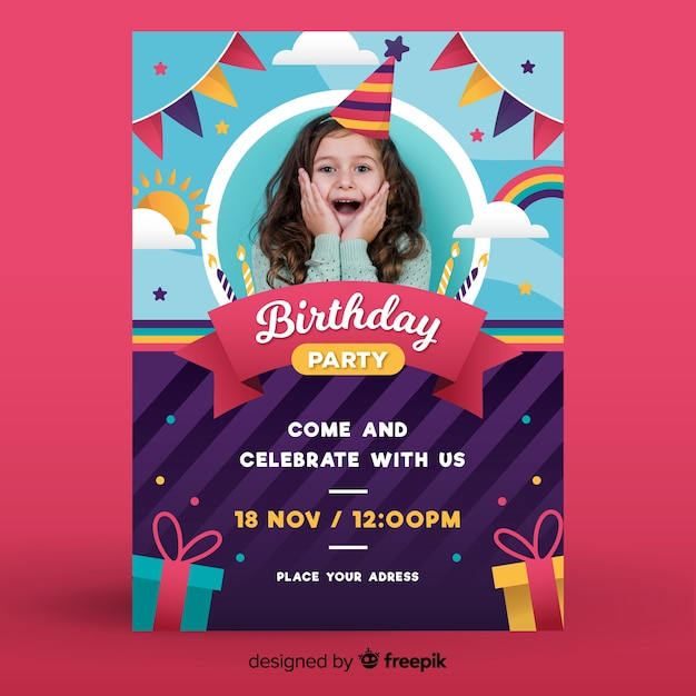 Happy childrens birthday invitation template with photo Free Vector