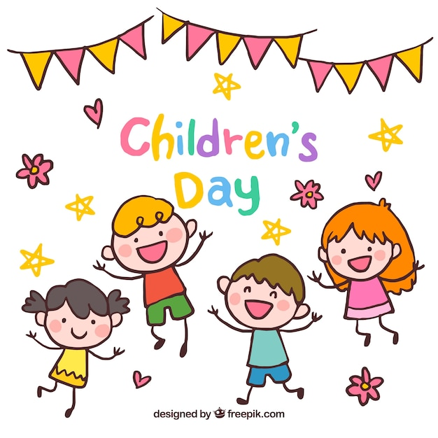 Happy childrens day illustration Free Vector