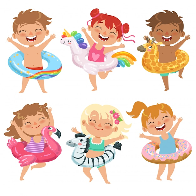 Happy childrens with floats Premium Vector