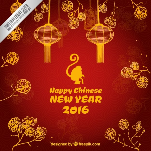 happy chinese new year 2016 background free vector - When Is Chinese New Year 2016