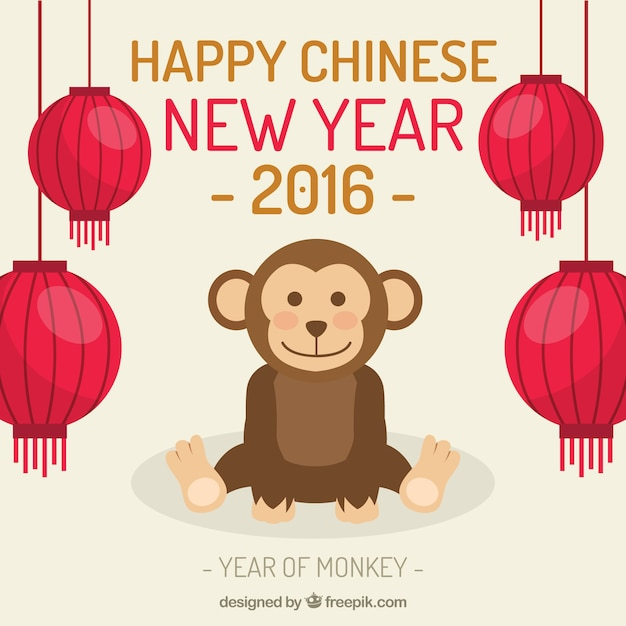 Happy chinese new year 2016 with a cute monkey Free Vector