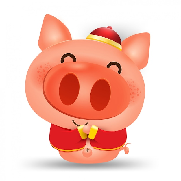 Happy chinese new year 2019,pig vector elements for Premium Vector
