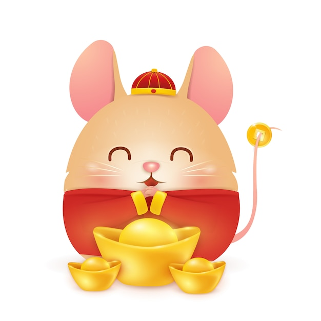 Happy chinese new year 2020. fat cartoon little rat character  with traditional chinese red costume and chinese gold ingot isolated on white background. the year of the rat. zodiac of the rat. Premium Vector
