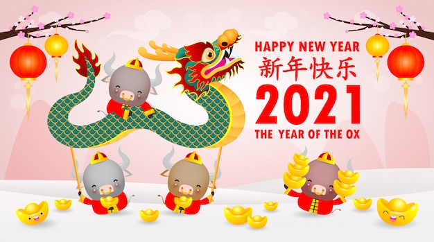 Happy chinese new year 2021 of the ox zodiac poster design ...