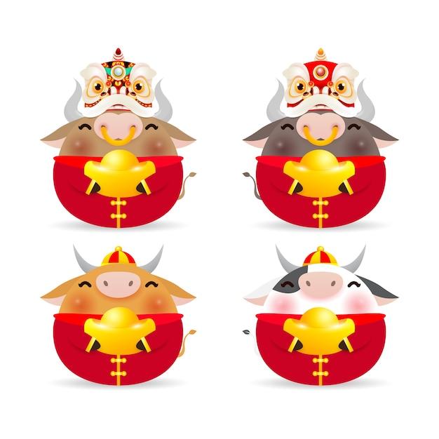 Счастливый китайский новый год 2021, набор милый маленький бык, год зодиака быка, мультяшная милая корова, изолированные на белом фоне Premium векторы