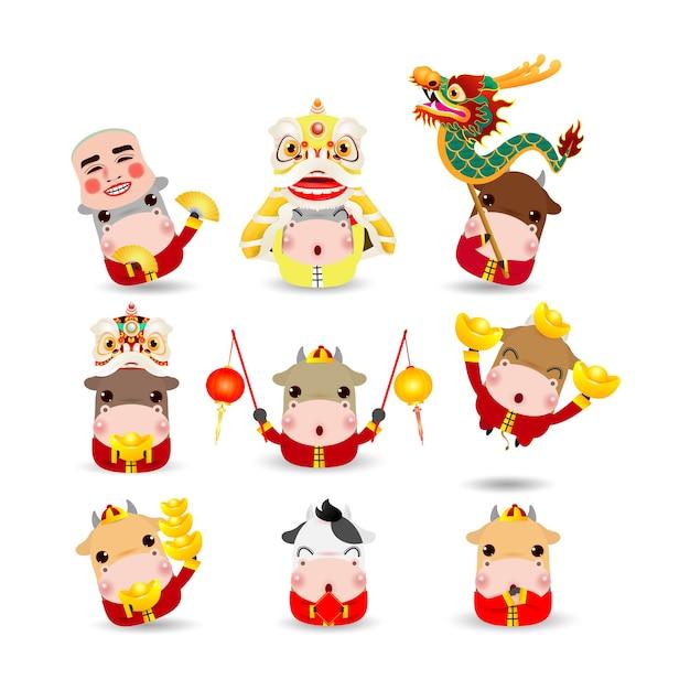 Счастливый китайский новый год 2021 год зодиака быка, набор милых маленьких мультяшных коров Premium векторы