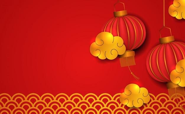 Happy chinese new year. 3d tradition red lantern with gold element Premium Vector
