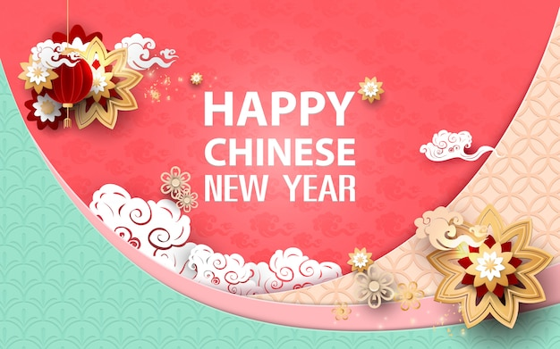 Happy chinese new year. asian traditional floral with clouds  background Premium Vector