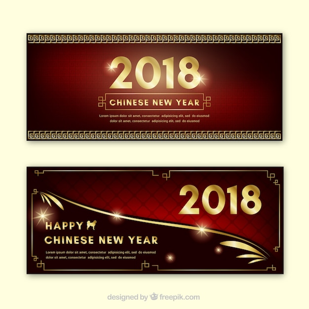 happy chinese new year banners free vector