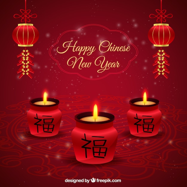 Happy Chinese New Year Candles Background Vector Free