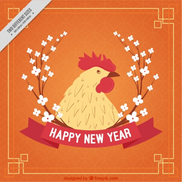 Happy chinese new year card with floral detail and a rooster
