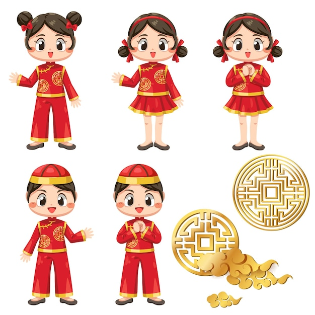 Felice anno nuovo cinese card con un bambino che indossa una maglietta e ah muay. Vettore gratuito