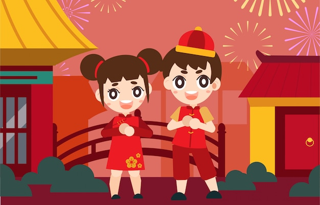 Happy chinese new year card Premium Vector