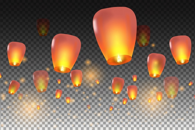 Happy chinese new year.  chinese lanterns.  illustration for card, poster, invitation. Premium Vector