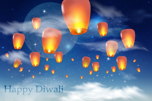 Happy chinese new year .  chinese lanterns in the night sky.  illustration for card, poster, invitation. Premium Vector