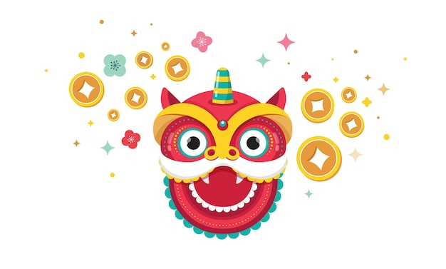Happy chinese new year design. dancing dragon, flowers and money elements. vector illustration and Premium Vector