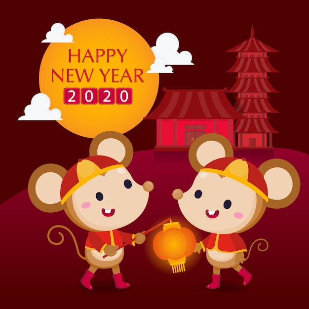 Happy chinese new year greeting card. the year of