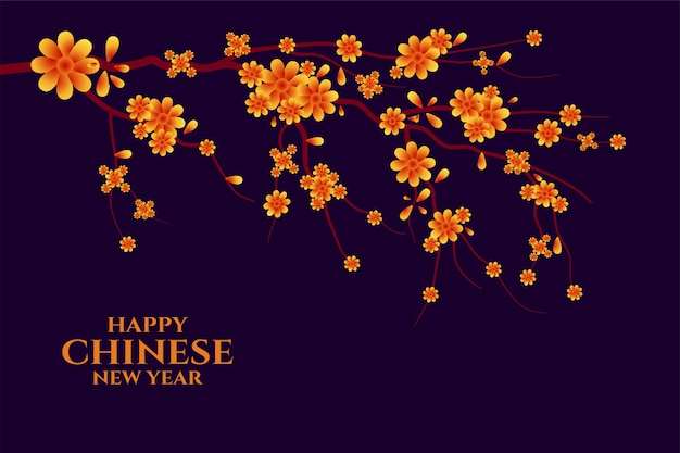 Happy chinese new year greeting with sakura tree Free Vector