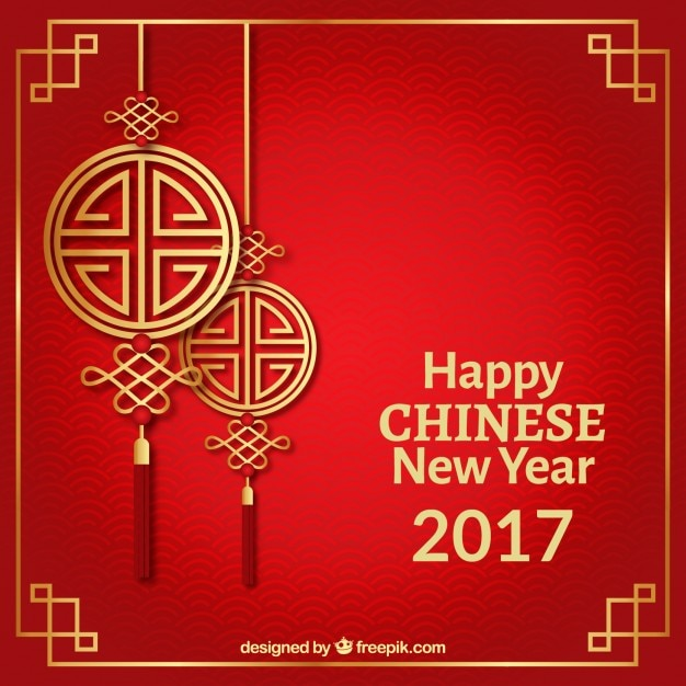 happy chinese new year on a red background free vector