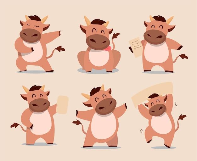Счастливый китайский новый год бык зодиака. набор символов милый корова. Premium векторы
