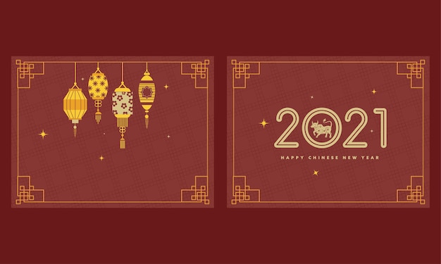 Happy chinese new year poster  in two options. Premium Vector
