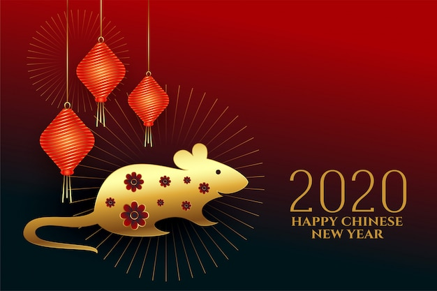 Happy chinese new year of the rat  design Free Vector