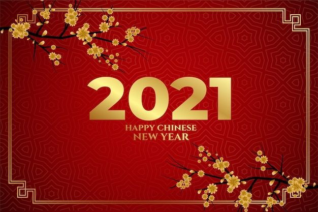 Happy chinese new year  sakura flowers on red background Free Vector