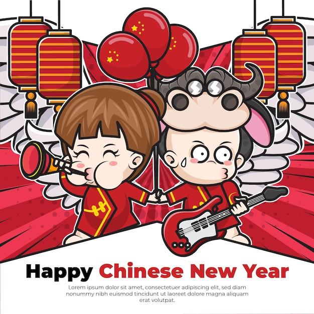 Шаблон плаката в социальных сетях с китайским новым годом с милым мультипликационным персонажем Premium векторы