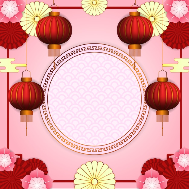 Happy chinese new year with 3d hanging red lantern with flower bloom and circle golden pattern Premium Vector