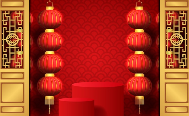 Happy chinese new year with hanging traditional lantern with red background with podium stage product display for marketing Premium Vector