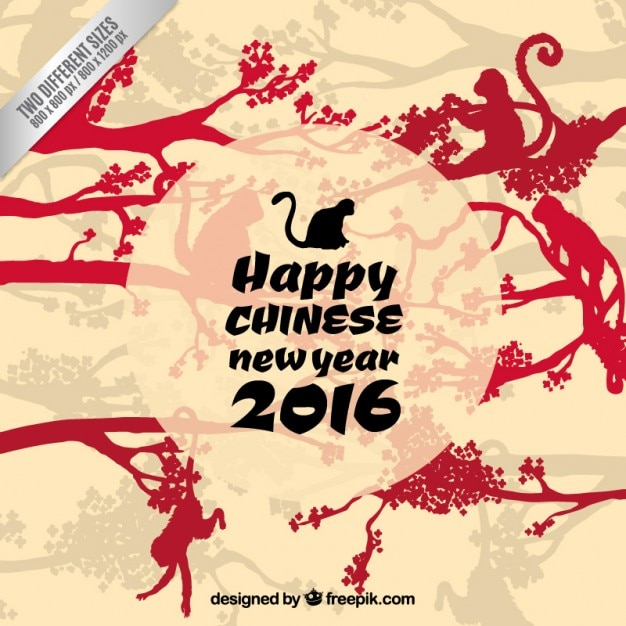 happy chinese new year with monkeys silhouettes free vector - Chinese New Year Year Of The Monkey