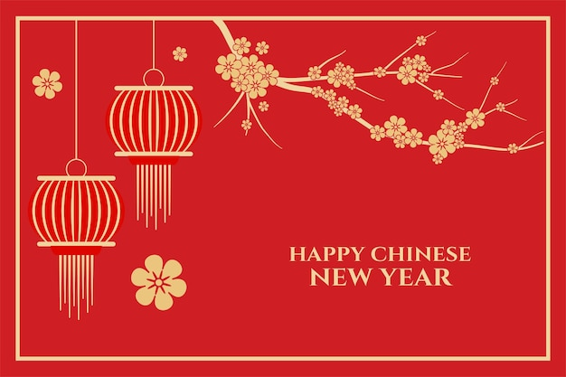 Felice anno nuovo cinese con fiori di sakura e rosso Vettore gratuito