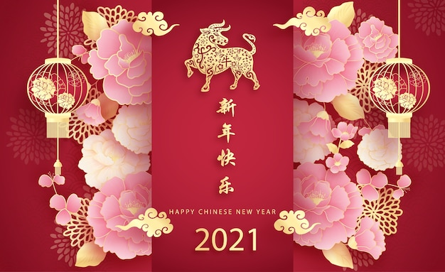 Happy chinese new year with year of the ox 2021 and hanging lantern Premium Vector