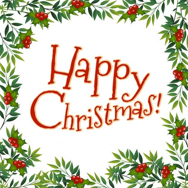 Happy Chrismas card with mistletoe Free Vector