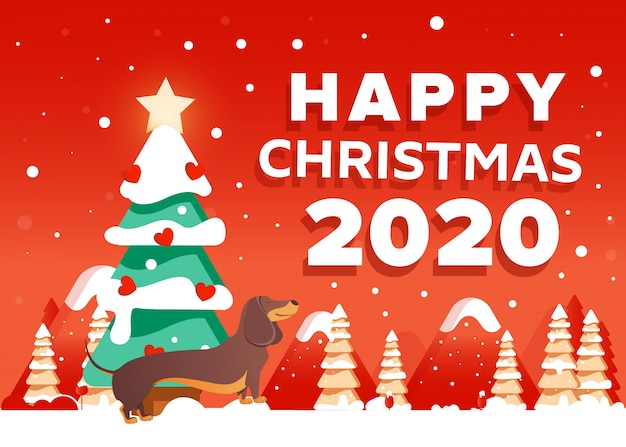 Christmas 2020.Happy Christmas 2020 Background With Dachshund Dog Trees