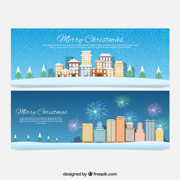 Happy christmas banners of city scapes Free Vector