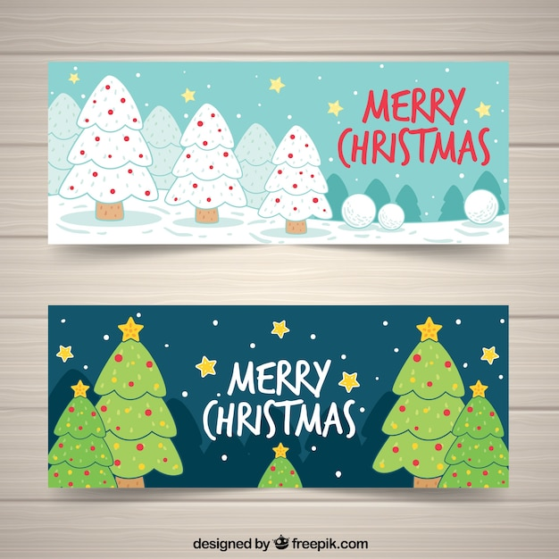 Happy christmas banners with hand drawn trees